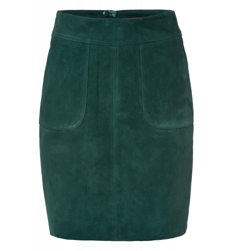 Velourslederrock, emerald green 91098002-0655 1